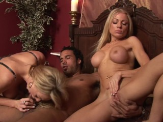 BUSTY BLONDES PAIGE ASHLEY AND CINDY BEHR SHARE HARD COCK