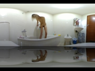 Step sister get caught showering in the morning Spycam VR 360
