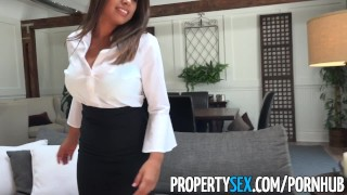 PropertySex - Potential client impressed by big natural tits Boobs dick