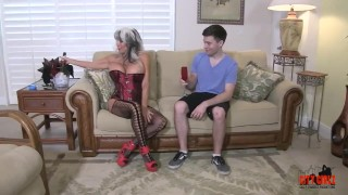Hot Cougar Stepmom Fucks Her Young Son Close college