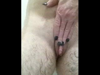 Transman gets rubbed & fingered in shower by sexy long nails woman