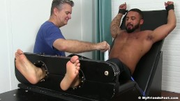 Damian Taylor is bound to the torture bed and gets tickled