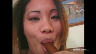 Horny pregnant asian babe sucks and fucks 3