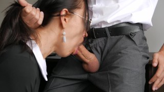 Horny Young Secretary Fucks In Anal, Pussy & Mouth With Her Office Boss Cock interracial