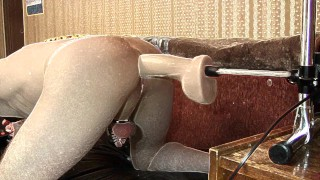 Fucking-machines cums in my ass, dick in chastity belt