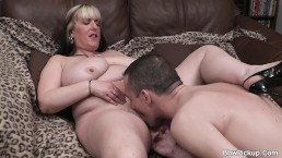 Chubby ex sucks and rides his cock