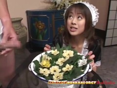 Japanese Maid uses her Mouth for cleaning - Japanese Bukkake Orgy