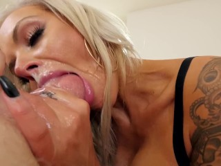 Suck Balls 5 Nina Elle Blonde MILF With Huge Tits Gets Hardcore Throat Fuck