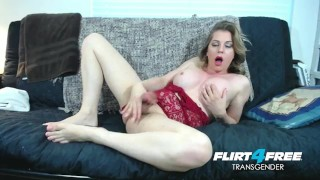 Sexy Flirt4Free Tranny Tyra Scott Strokes Her Big Cock and Spreads Her Ass