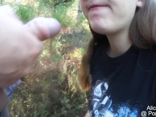 Preview 3 of BF fucks my F Cup Boobs in the forest, huge oudoor Cumshot