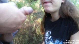 BF fucks my F Cup Boobs in the forest, huge oudoor Cumshot porno