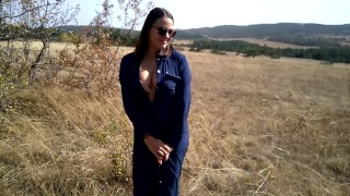 College student sucking on a mountain walk. Public Blowjob & cum in mouth.