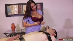 Super hot brunette punishes a poor man