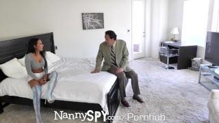 NannySpy Lonely dad seduces busty brunette Nanny Amia Miley Elevator elevator