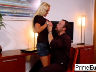 Blonde MILF Sharon Pink fucks in the office