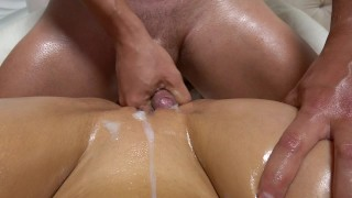 Teen with wet oiled pussy getting fucked after grinding rubbing Carry Light Step blowjob