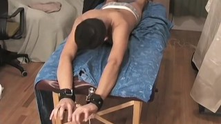 Mickey likes having his feet tickled while being tied up