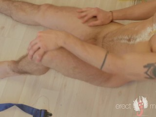 Hot tattoo guy goes into ecstasies after work dancing and undressing
