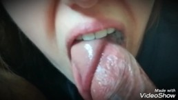 Sweet cum on her tongue