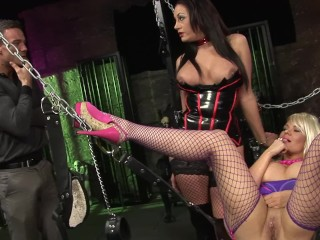 Dominatrix milf share huge cock with blonde tiffany...