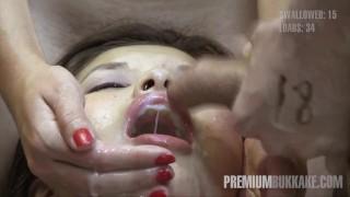 Premium Bukkake - Miyuki Son swallows 41 huge mouthful cumshots
