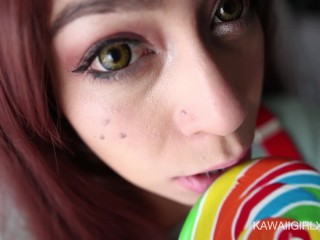 Braceface Girl Next Door Eats My Cum Off Her Lollipop