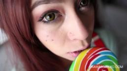 Braceface Girl Next Door Eats My Cum Off Her Lollipop