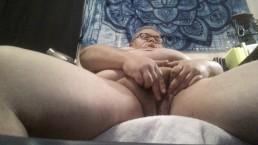 Tranny boy loves huge chubby clit