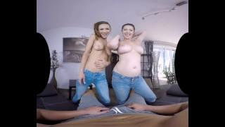 Fetish babes Daria Glower and Cynthia Vellons' foot worship and footjob VR