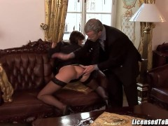 Jenny Sweet  the ass by her boss at work