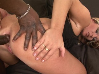 Trashy MILF toys her ass before getting anal fucked by black cock
