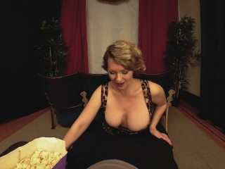 Preview 1 of Big Tits Milf Girlfriend Gives You A Handjob In The Theater