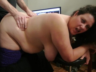 Horny Fat Girl Smokes a Joint With Her Huge Tits Out and Takes A Thick Cock