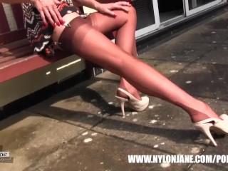 Milf Nylon Jane teases in sexy pair of nylon stockings suspenders and heels