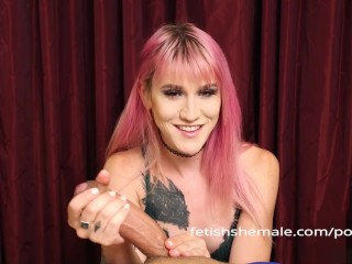 Shemale lena kelly shows how to give hand...
