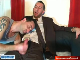 Sexy innocent straight guy in a gay porn. Jerem gets sucked in spite of him
