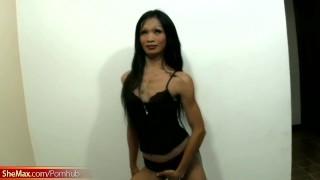 Black hair Thai shegirl strips and gives a perfect blowjob