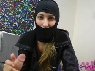 Cum Burglar Kimber Breaks In To Jerk You Off & Steal Your Cum!