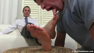 Dominant yuppie Cameron Kincade enjoys being foot worshipped Dark bald