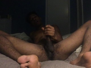 Late night reading leads to bbc cumshot