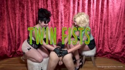 Twin Fists: Two women double fist a guys asshole and make him gape