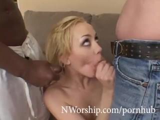 German slut Annette Schwartz threesome fuck with big cocks interracial sex