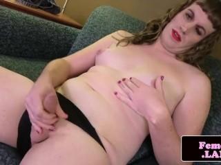 Curvy femboy spreading her butt cheeks