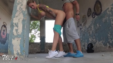 Busty girl fucked in an abandoned building huge got a huge cumshot over ass