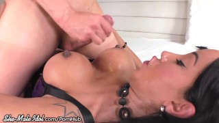 Busty Trans Goddess Fucked Raw by Stud