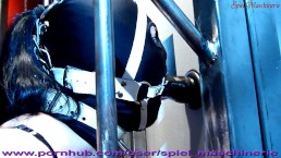 Dildo deepthroat lessons ring gagged slut slave in cage