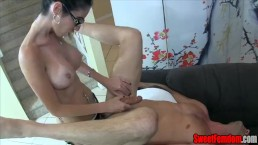 Skinny Lady with Huge Tits Strap On Fucks and Milks a Guy