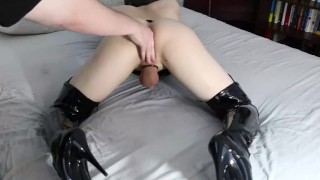 Femboi fingered to orgasam by Daddy Doggystyle sucking