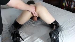 Femboi fingered to orgasam by Daddy Cowgirl shaved