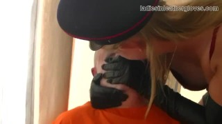 In mistress fetish blonde and gloves boots clad smoking domination leather slave domination